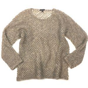 Eileen Fisher mohair open knit sweater asymmetric